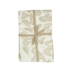 Tafelkleed, bio-katoen, wit met taupe bladmotief, Ø 180 cm