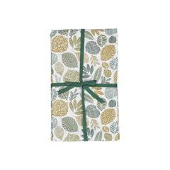 Tafellaken, bio-katoen, groen bladmotief, 145 x 300 cm