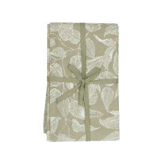Tafellaken, bio-katoen, groen met bladmotief, 140 x 180 cm