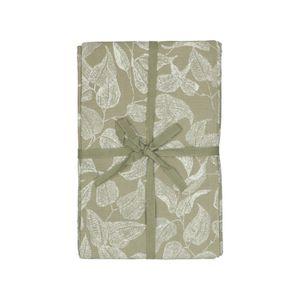 Tafellaken, bio-katoen, groen met bladmotief, 145 x 250 cm