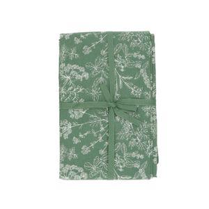 Tafellaken, bio-katoen, groen met kruidenmotief, 145 x 250 cm