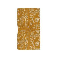 Tafellaken, bio-katoen, okergeel met kruidenmotief, 145 x 300 cm