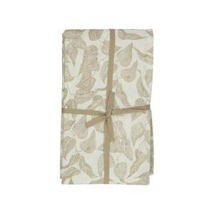 Tafellaken, bio-katoen, wit met taupe bladmotief, 145 x 300 cm