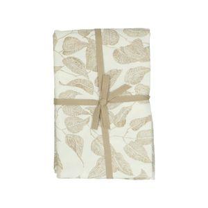 Tafellaken, bio-katoen, wit met taupe bladmotief, Ø 180 cm