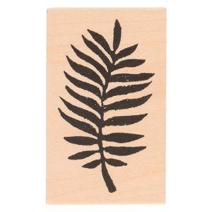 Tampon encreur, bois de bouleau, fougère, 7 x 4,3 cm
