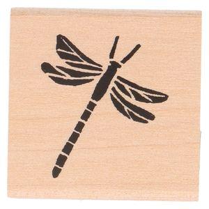Tampon encreur,  bois de bouleau, libellule, 3,5 x 3,5 cm