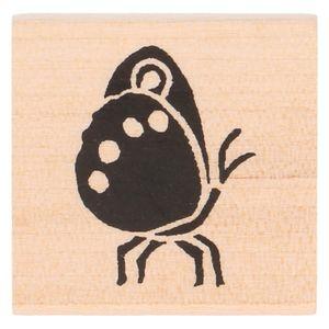 Tampon encreur,  bois de bouleau, papillon, 3,5 x 3,5 cm