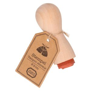 Tampon encreur,  bois de hêtre, papillon, Ø 2 cm