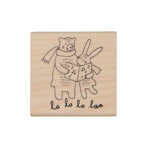 Tampon, ours et lapin, bois de bouleau, 5x5cm
