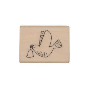 Tampon, pigeon avec cloche de Noël, bois de bouleau, 4 x 3 cm
