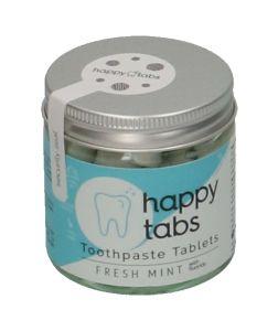 Tandpasta-tabletten 'Happy tabs', fresh mint, potje 80 stuks