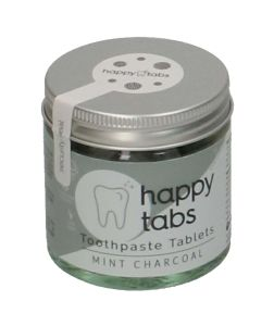 Tandpasta-tabletten 'Happy tabs', mint charcoal, potje 80 stuks