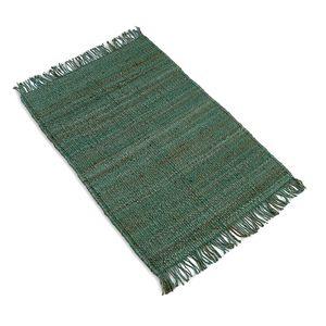 Tapis à franges, jute, vert chiné, 90 x 130 cm