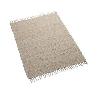 Tapis, coton, écru, 100 x 130 cm