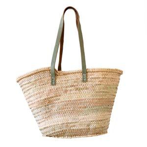 Tas, palmblad, handvat lang, celadongroen