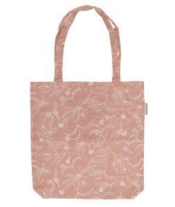 Tasche, Bio-Baumwolle, altrosa mit Blumenmotiv