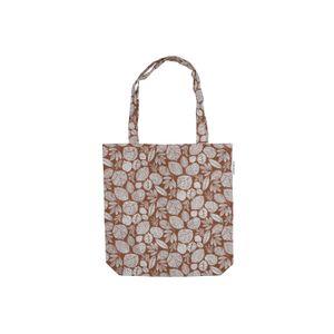 Tasche, Bio-Baumwolle, braun mit Blättermotiv