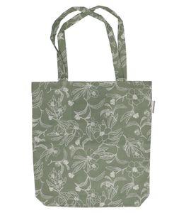 Tasche, Bio-Baumwolle, graugrün mit Blumenmotiv