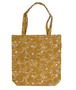 Tasche, Bio-Baumwolle, ockergelb mit Blumenmotiv