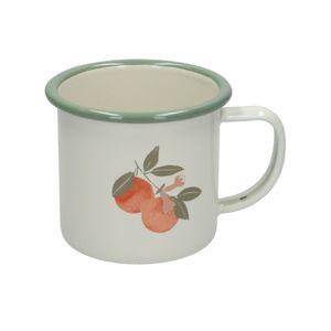 Tasse avec anse, émail, oranges, Ø 9 cm