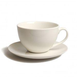Tasse et sous-tasse très grand format 'Cameo' en porcelaine blanche