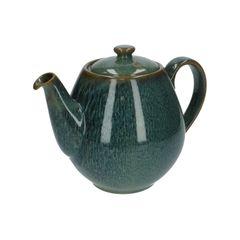 Teekanne, reactive Glasur, Steingut, grün, 1,8 liter