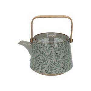 Teekanne, Steingut, grüne Zweige, 750 ml