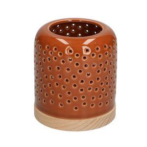 Teelichthalter, Porzellan & Holz, braun