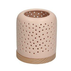 Teelichthalter, Porzellan & Holz, mattrosa
