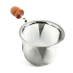 Teesieb, aus Edelstahl mit Holzknopf