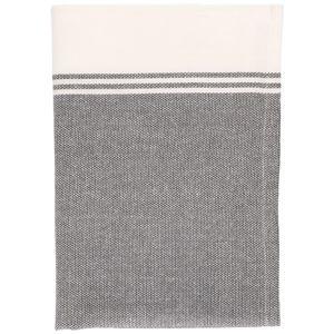 Theedoek, bio-katoen, antraciet/wit gemêleerd, 50 x 70 cm