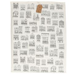 Theedoek, bio-katoen, wit met zwarte geveltjes, 50 x 70 cm
