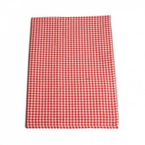 Theedoek, katoen, rood/wit geruit, 50 x 70 cm