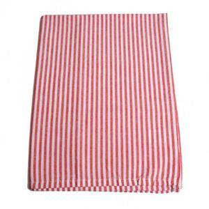 Theedoek, katoen, rood/wit gestreept, 50 x 70 cm