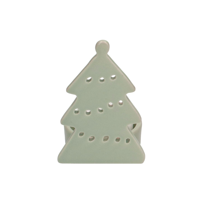 Theelichthouder kerstboom, piek, groen, porselein