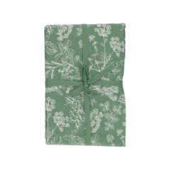 Tischdecke, Bio-Baumwolle, grün mit Kräuternmotiv, Ø 180 cm