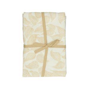 Tischdecke, Bio-Baumwolle, weiß mit gelbfarbigem Blättermotiv, Ø 180 cm