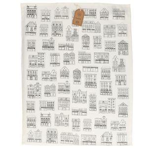 Torchon, coton bio, blanc à motif de façades noires, 50 x 70 cm