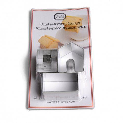 Uitsteekvorm voor koekjes, huisje, vertind metaal, 3 cm