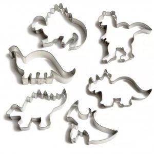 Uitsteekvormen voor Dinosauruskoekjes, RVS, set van 6 stuks