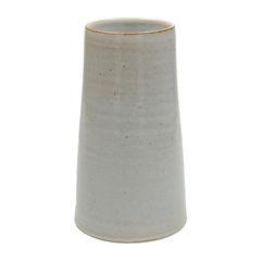 Vase conique, grès, blanc