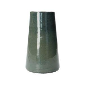 Vase, konisch, Steingut mit reactiver Glasur, dunkelblau