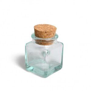 Vierkant potje met kurk, mini, groen gerecycled glas, 35 ml