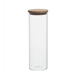 Voorraadpot met bamboe deksel, glas, 1650 ml