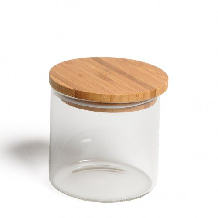 Voorraadpot met bamboe deksel, glas, 450 ml