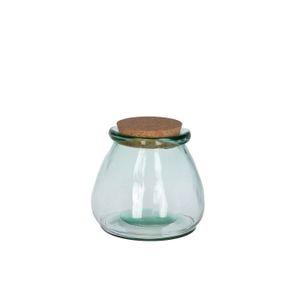 Voorraadpot met kurken deksel, gerecycled glas, Ø 10 x 11 cm