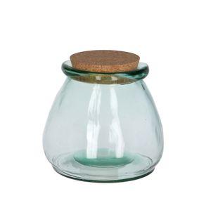 Voorraadpot met kurken deksel, gerecycled glas, Ø 16 x 15 cm