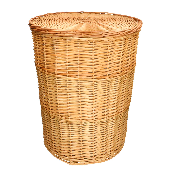 Wäschekorb rund, Weidenzweige, mit Innenfutter, groß