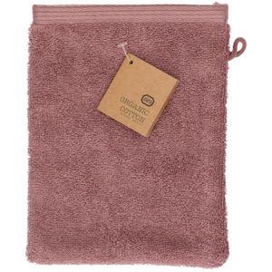 Washandje, bio-katoen, grijs/roze, 20 x15 cm