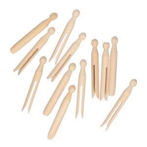 Wasknijpers rond, hout, 12 stuks
